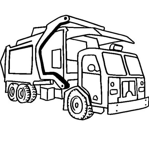 600x600 Garbage Truck In Semi Truck Coloring Page