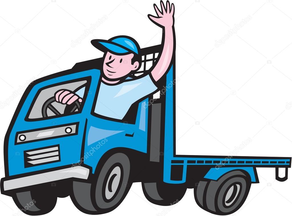 1024x758 Flatbed Truck Driver Waving Cartoon Stock Vector Patrimonio