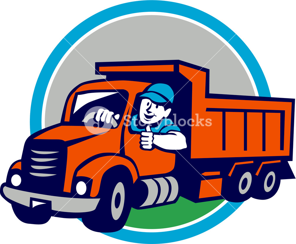 1000x824 Illustration Of A Dump Truck Driver Smiling And Driving