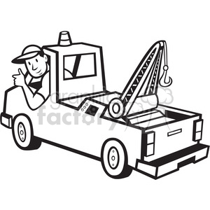 300x300 Royalty Free Black And White Tow Truck Driver Rear 388272 Vector