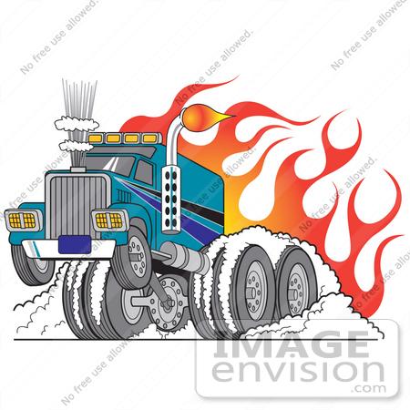 450x450 Royalty Free Cartoon Clip Art Of A Tough Big Rig Truck Flaming