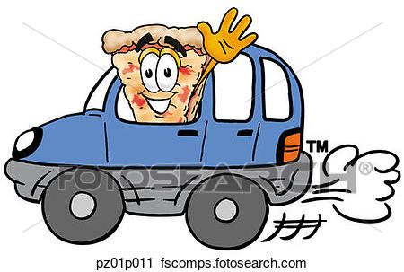 450x303 Clipart Of Pizza Driving A Car Pz01p011