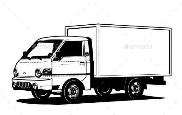 590x373 Vector Truck Outline Template Isolated On White By Mechanik