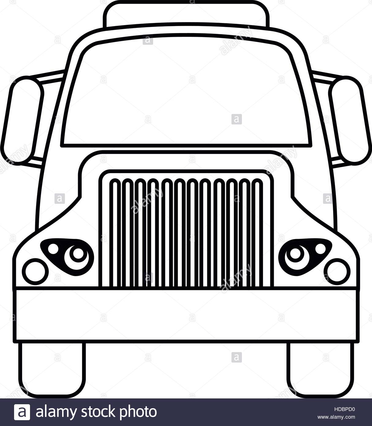 1215x1390 Front Truck Transportation Commercial Vehicle Outline Stock Vector