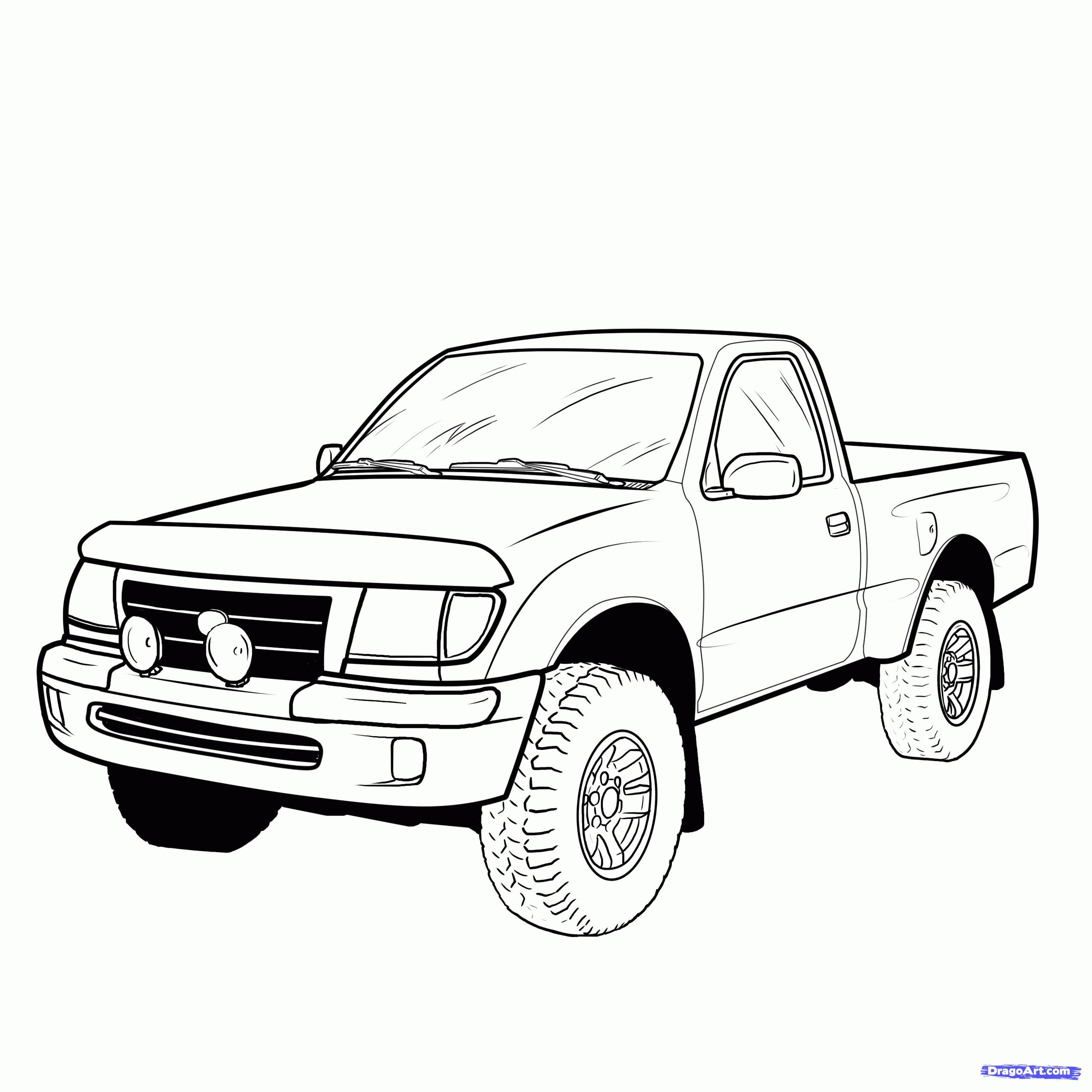 2550x2550 Pickup Truck Outline Drawing Maxi Truck
