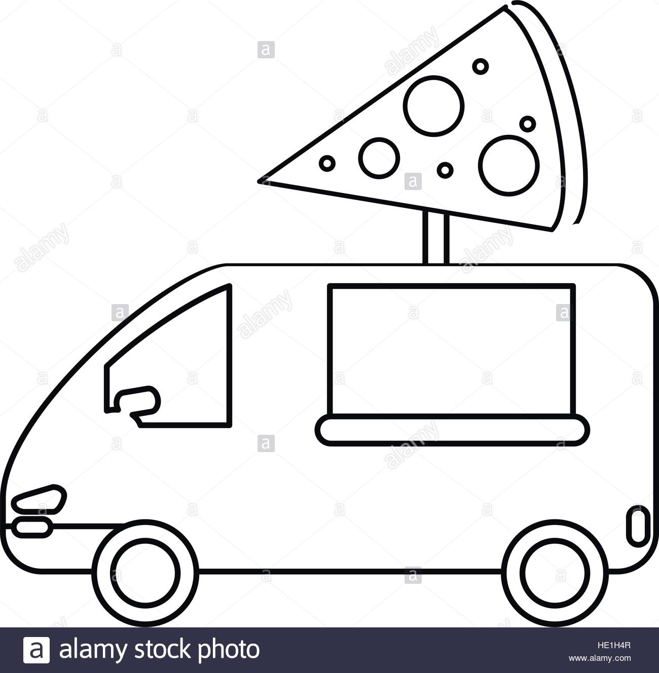 1300x1328 Pizza Delivery Truck Fast Food Outline Stock Vector Art