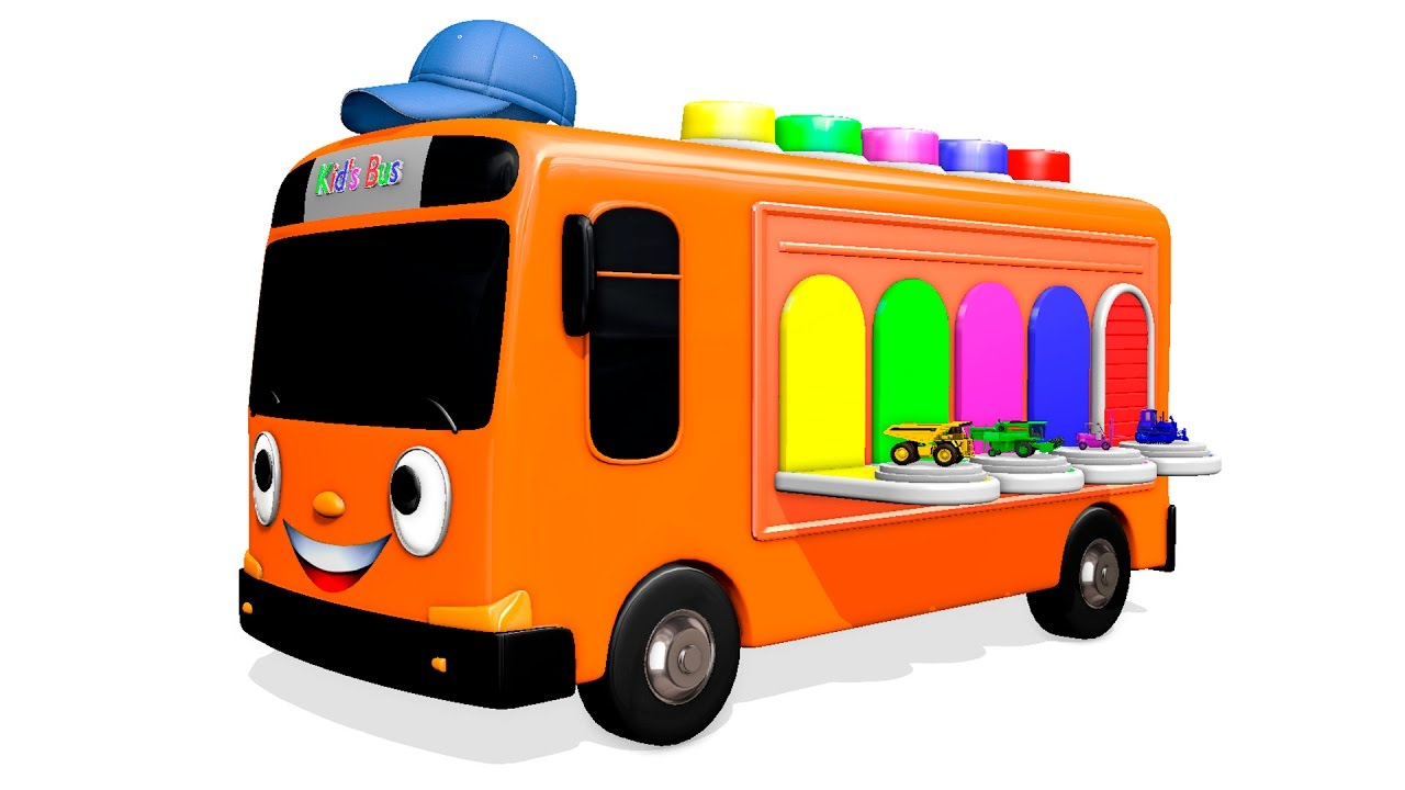 1280x720 Color Kids Bus With Trucks Amp Cars Learn Vehicles Colors