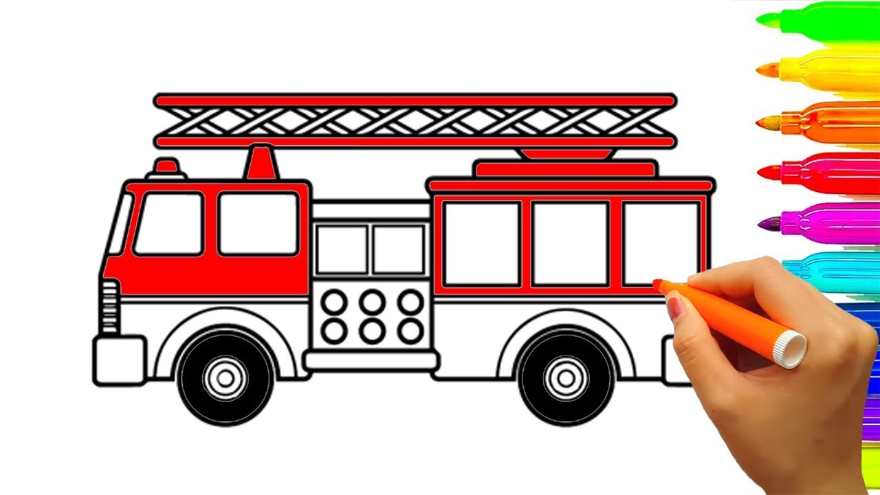 1280x720 Learn Colors With Fire Truck Coloring Pages, Car And Vehicles