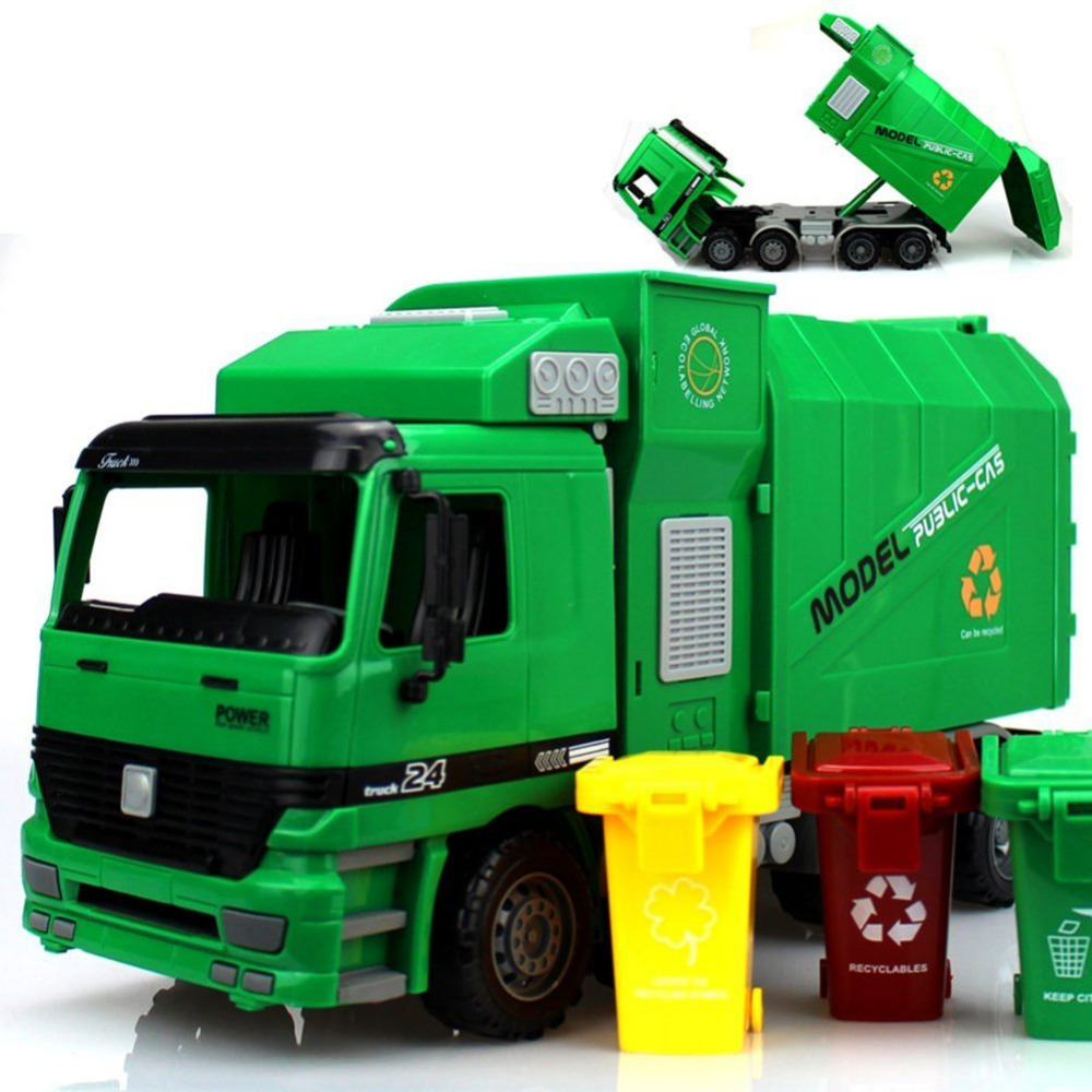 1000x1000 2016 Garbage Truck Toys For Kids With 3 Trash Cans Educational