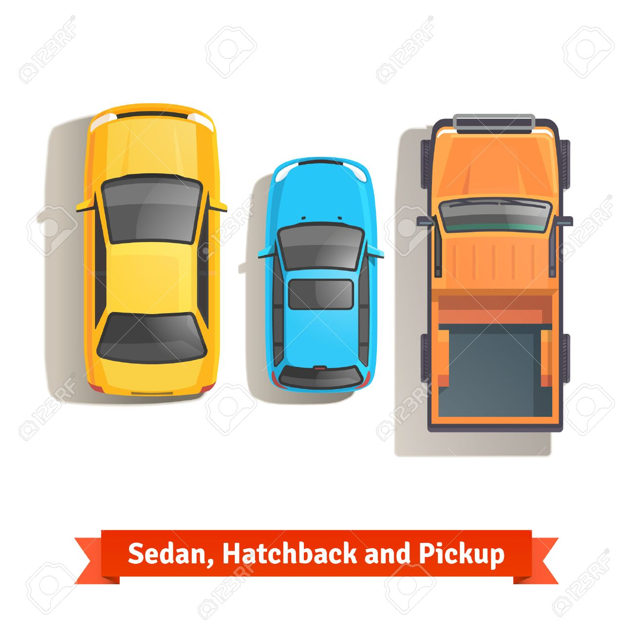1300x1300 Sedan, Hatchback Cars And Pickup Truck Top View. Flat Style Vector