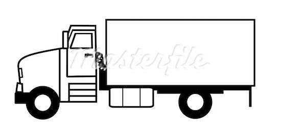 550x264 Black And White Truck Clipart
