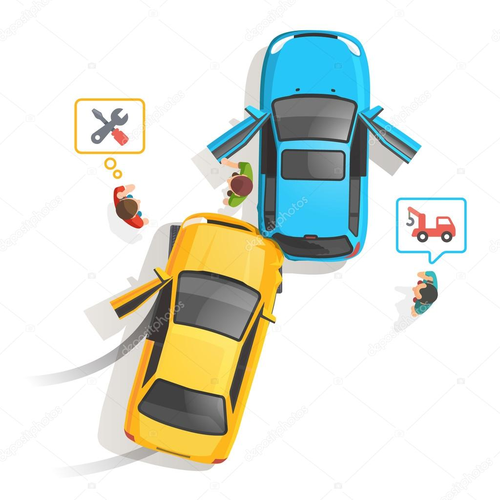 1024x1024 Car Traffic Accident Top View Stock Vector Iconicbestiary