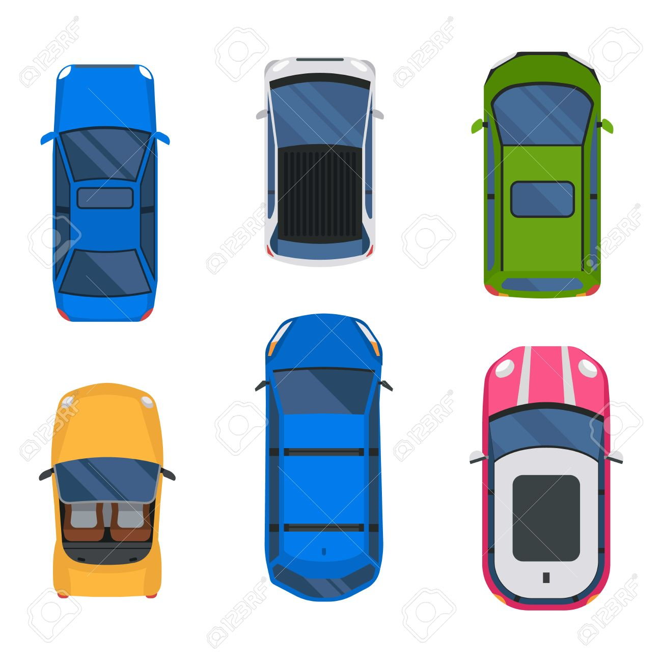 1300x1300 Vector Cars Icon Set. From Above Car Top View. Includes Sedan