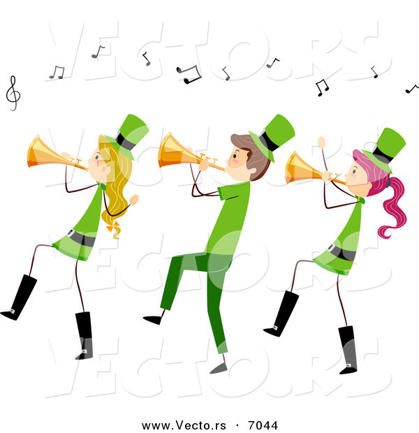 600x620 Cartoon Vector Of Happy St. Patrick's Day People Playing Music