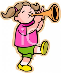 252x300 Colorful Cartoon Of A Young Girl Marching And Playing A Trumpet