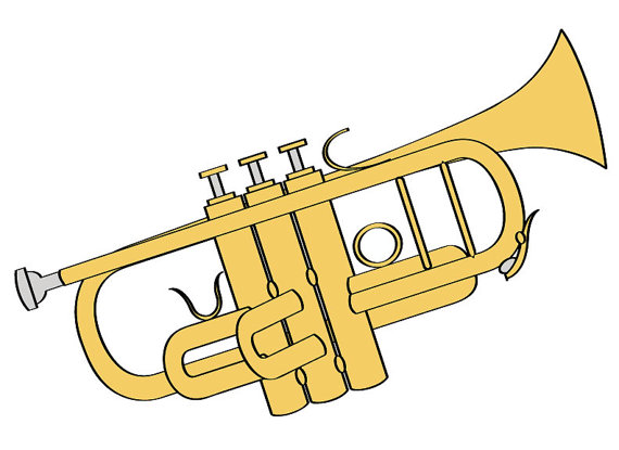 570x415 Trumpet Illustration Digital Download Music Clip Art Trumpet