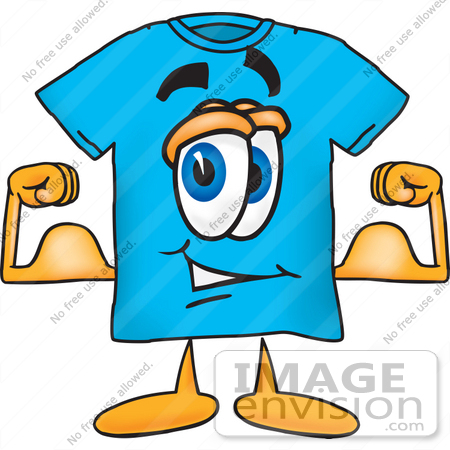 450x450 Clip Art Graphic Of A Blue Short Sleeved T Shirt Character Flexing