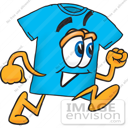 450x450 Clip Art Graphic Of A Blue Short Sleeved T Shirt Character Running