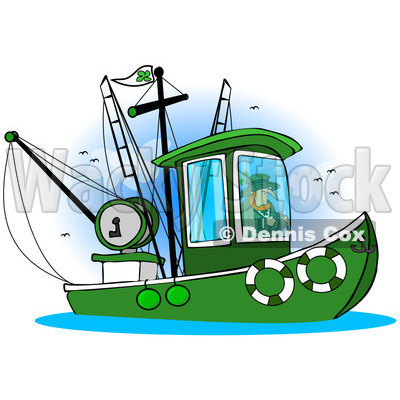400x400 Free (RF) Clip Art Illustration of a Leprechaun Steering A Fishing