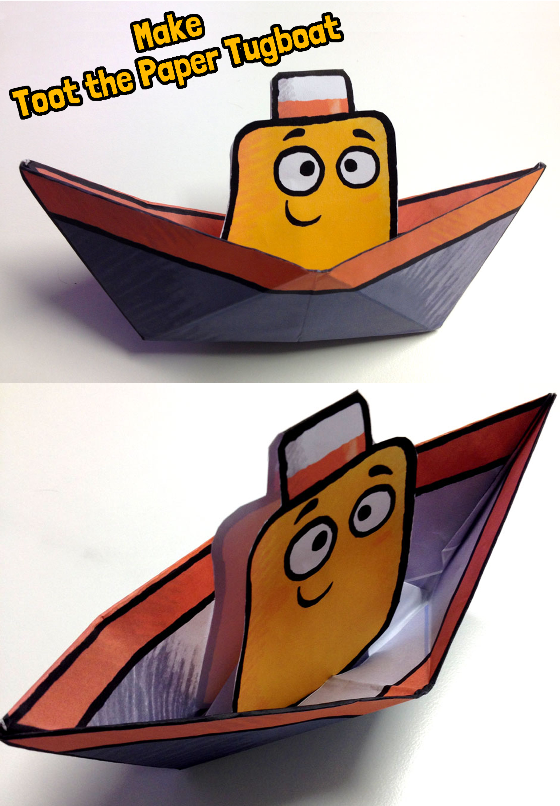1820x2620 Make a Toot the Tiny Tugboat paper boat! Fun paper craft for