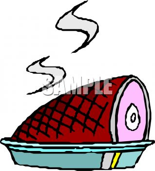 318x350 Picture of a Ham Sitting In a Pan In a Vector Clip Art