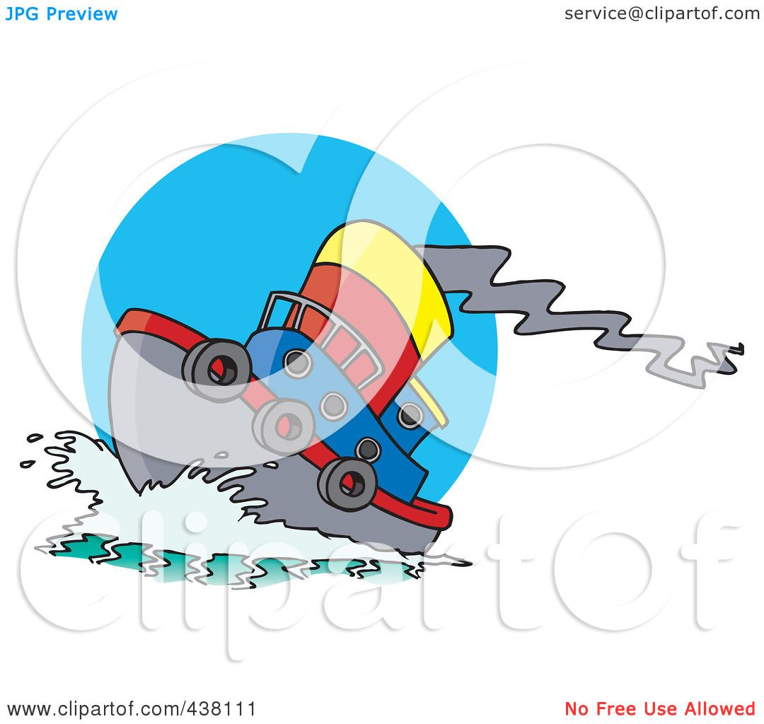 1080x1024 Royalty Free (RF) Clip Art Illustration of a Cartoon Tug Boat At