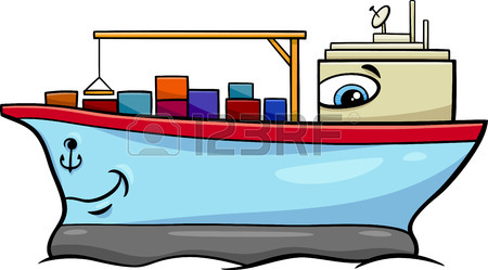 450x249 Black And White Cartoon Illustration Of Container Ship Transport