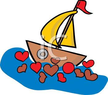 350x308 Valentine Sailboat with Hearts in the Water