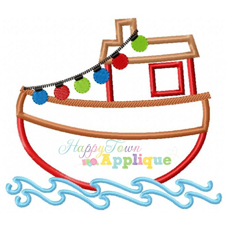 800x800 Christmas Tugboat Applique Design