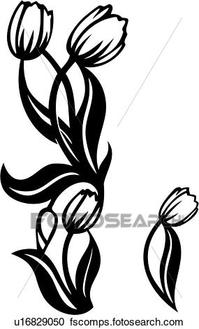 285x470 Clipart Of , Border, Floral, Patterned, Repeatable, Tulip