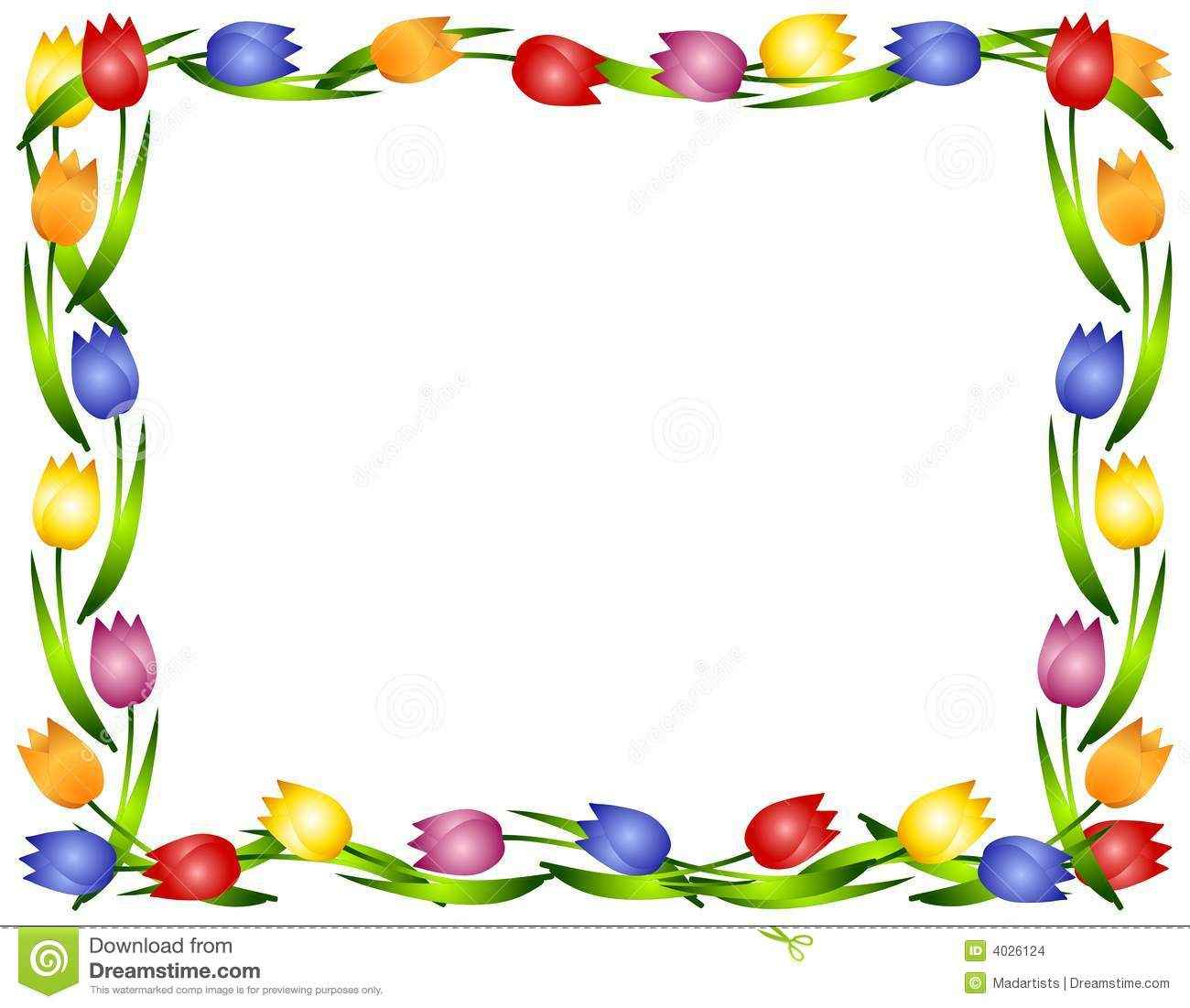 1300x1101 Clip Art Borders And Frames Flower Frame Clip Art Spring Tulips