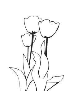 236x295 Cartoon Clipart Of An Outlined Tulip Flower Plant