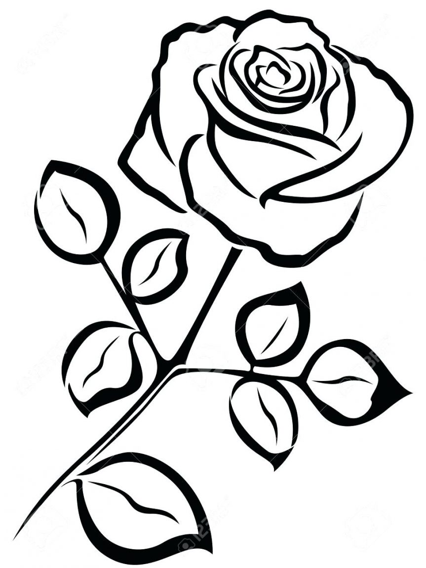 863x1151 Traditional Rose Outline By On Clip Art Flower Vector Tattoo