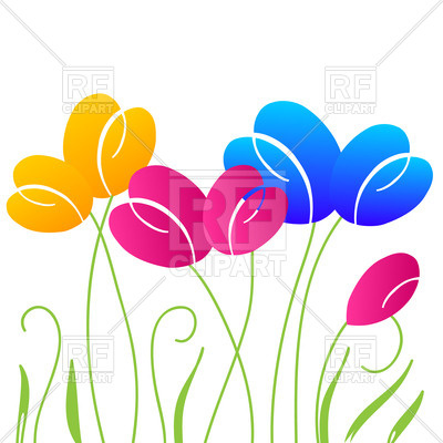 400x400 Simple Stylized Tulip Flowers Royalty Free Vector Clip Art Image
