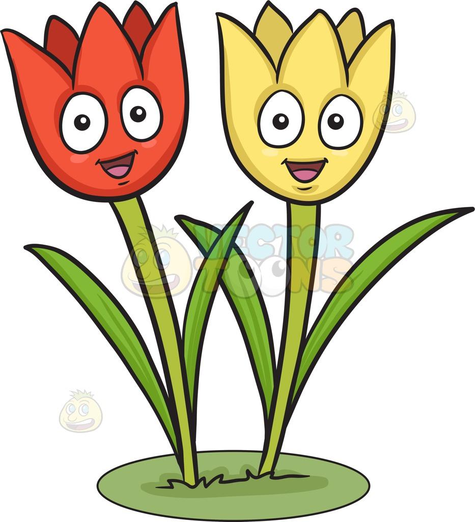 933x1024 A Couple Of Happy Tulips Cartoon Clipart