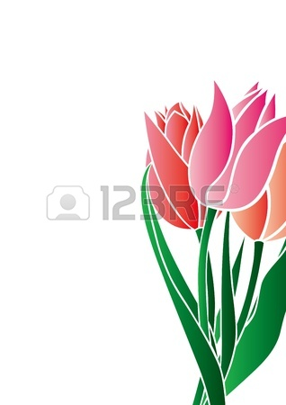 318x450 Bouquet Of Tulips On A Black Background Stock Photo, Picture
