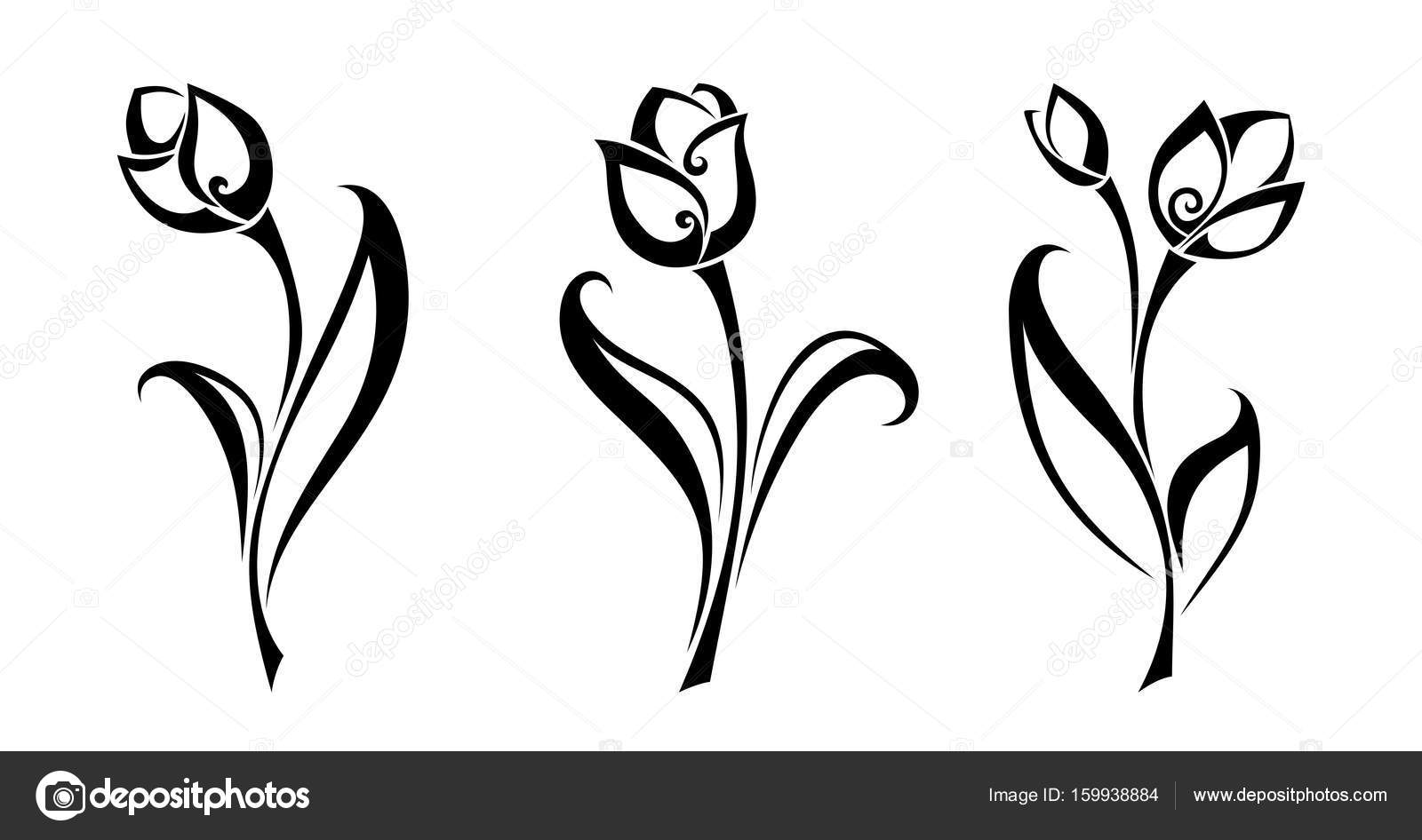 1600x946 Black Silhouettes Of Tulip Flowers. Vector Illustration. Stock