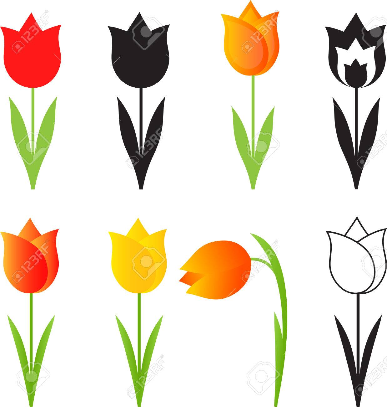 1238x1300 Isolated Spring Flowers Vectors, Tulip Vectors Royalty Free