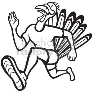 300x300 Royalty Free Black And White Turkey Runner Frnt Side 388281 Vector