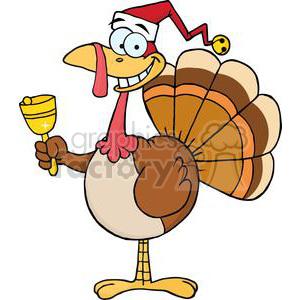 300x300 Royalty Free 3649 Happy Turkey With Santa Hat 381445 Vector Clip