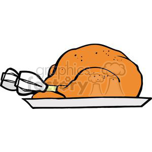 300x300 Royalty Free Turkey On A Plate 379436 Vector Clip Art Image