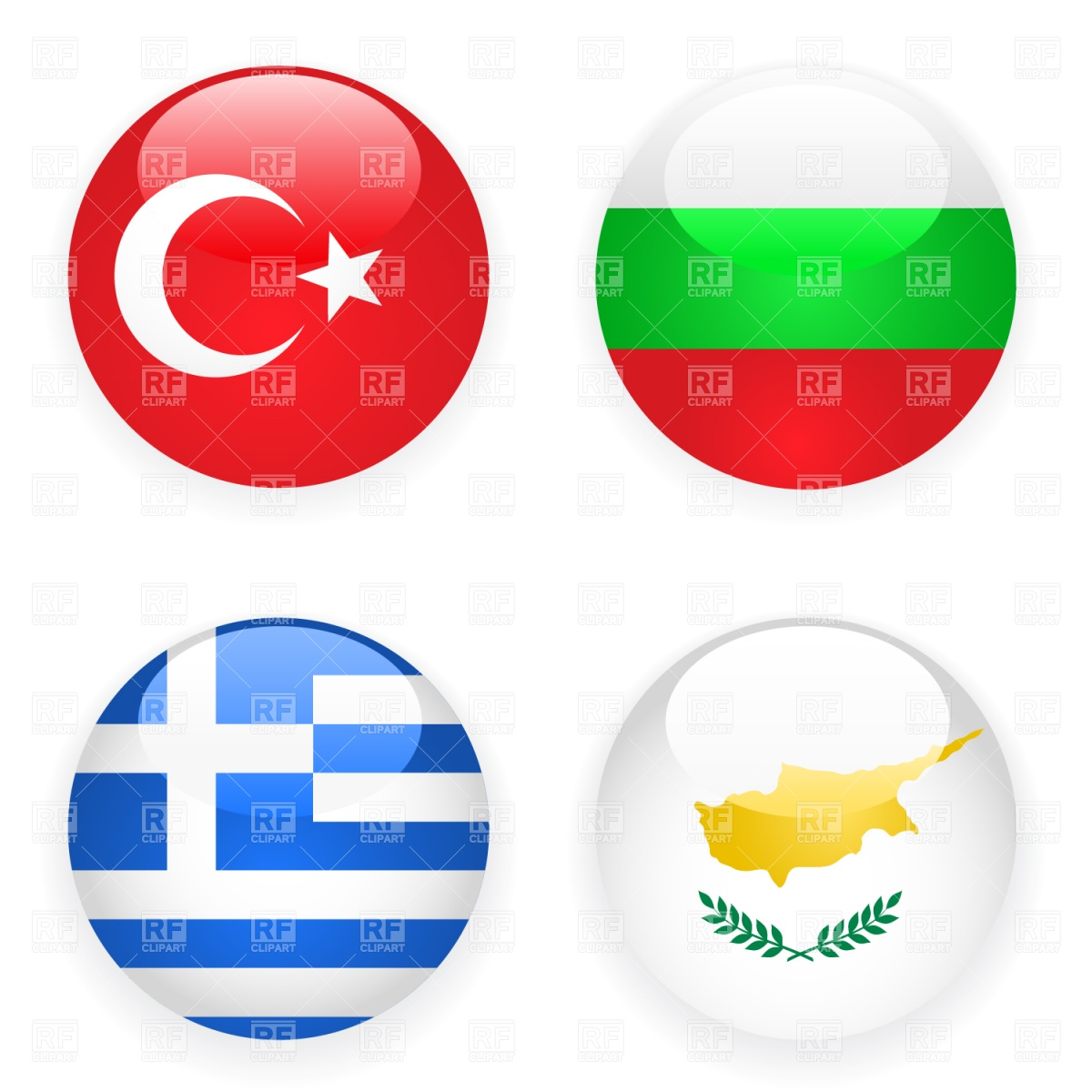 1200x1200 Turkey, Cyprus, Greece And Bulgaria Button Flags Royalty Free