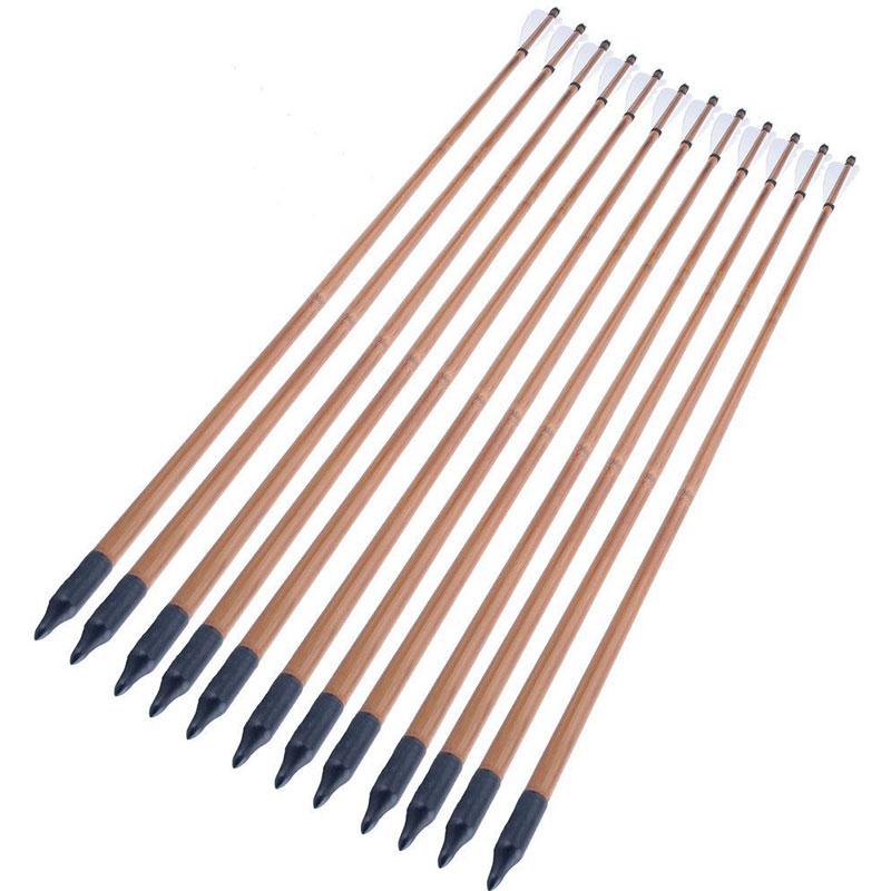 800x800 61224pcs Archery Hunting Bamboo Arrows With Iron Arrowhead White