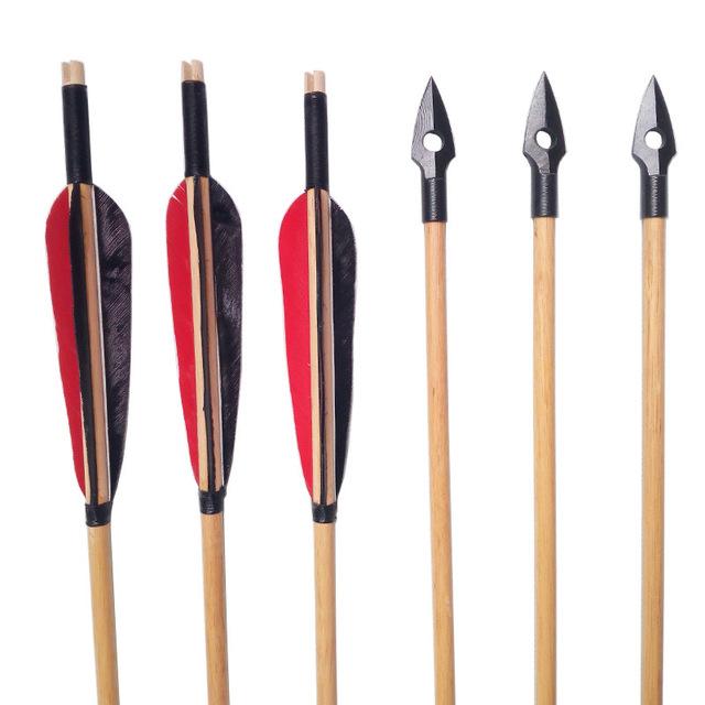 640x640 Archery Wooden Arrows Handmade Turkey Feather Recurve Long Bow