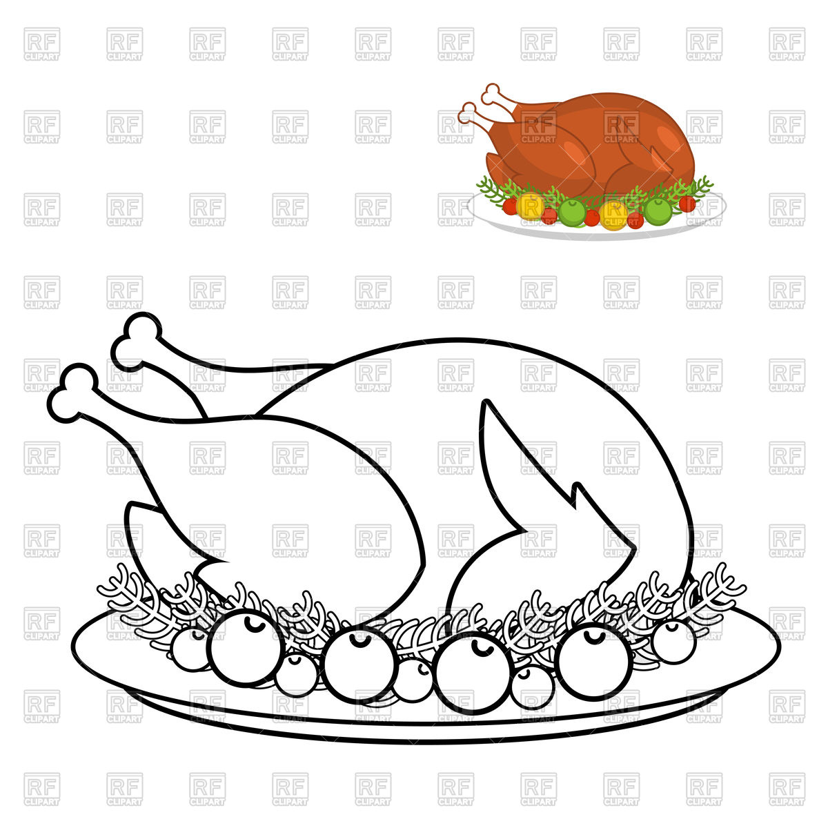 1200x1200 Page Of Colouring Book With Roast Turkey Outline Royalty Free