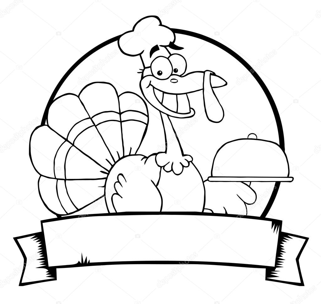 1023x969 Outlined Turkey Chef Serving A Platter Over A Circle And Blank