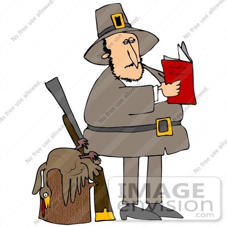 450x450 Cliprt Graphic Of Pilgrim Man Standing By Dead Turkey On