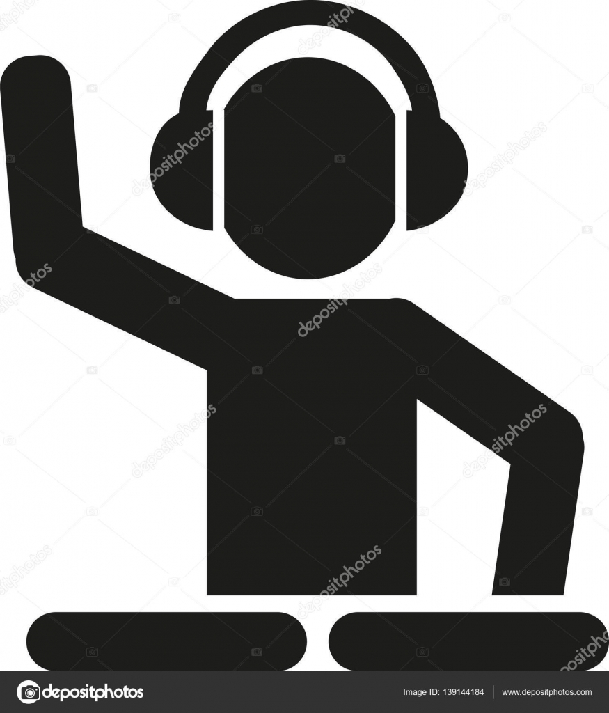 875x1024 Dj With Turntables Pictogram Stock Vector Miceking