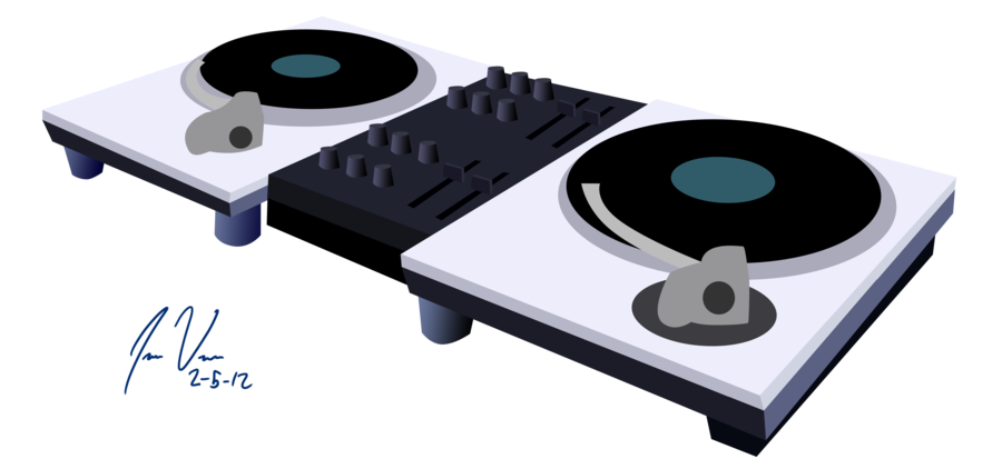900x413 Record Player Clipart Dj Table