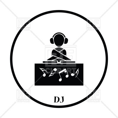 400x400 Thin Circle Design Of Night Club Dj Icon Royalty Free Vector Clip